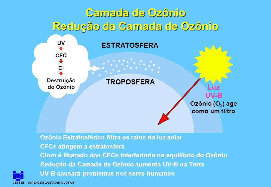 Camada de Ozônio Redução da Camada de Ozônio Ozônio Estratosférico filtra os raios da luz solar CFCs atingem a estratosfera Cloro é liberado dos CFCs