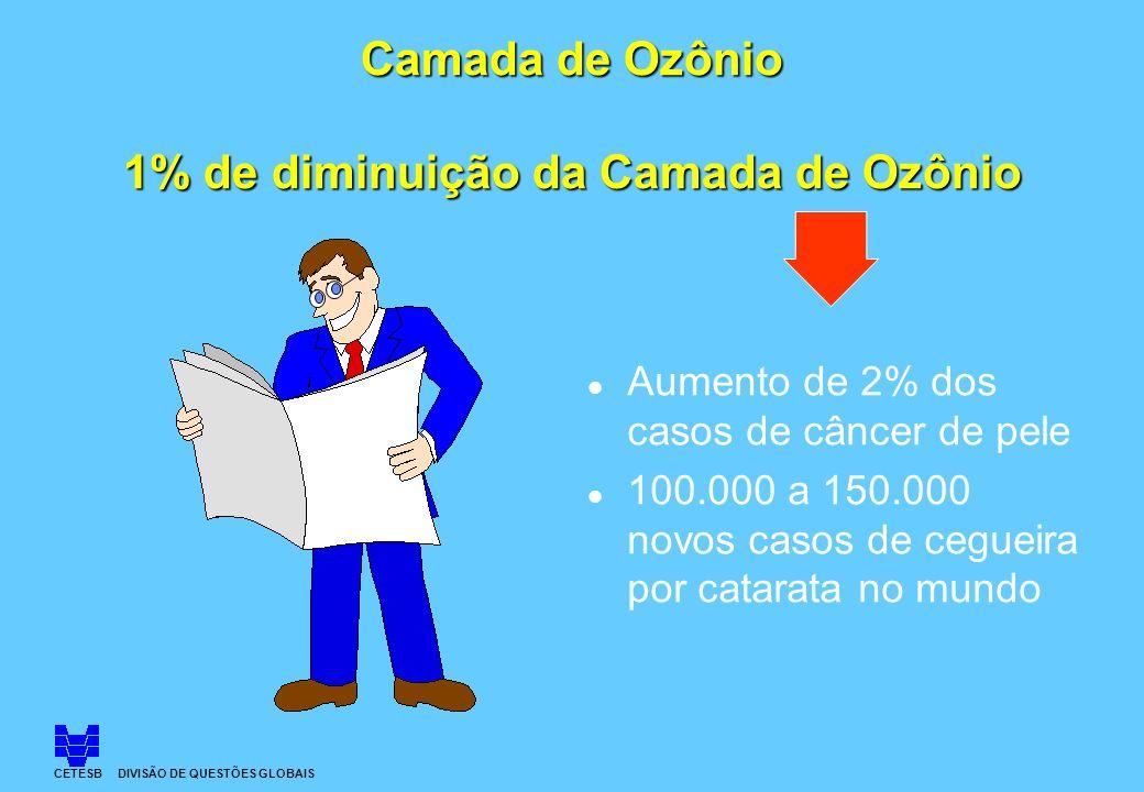 Camada de Ozônio 1% de diminuição da Camada de Ozônio l Aumento de 2% dos casos de câncer de pele l 100.000 a 150.000 novos casos de cegueira por cata