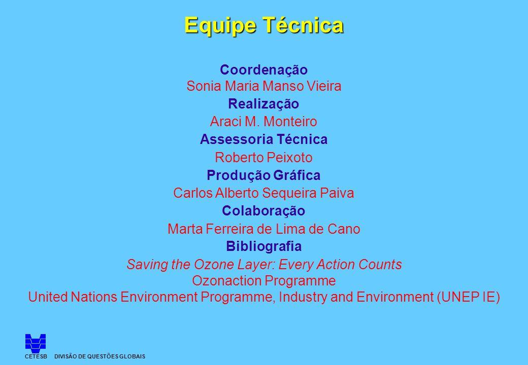 CETESB DIVISÃO DE QUESTÕES GLOBAIS Equipe Técnica Coordenação Sonia Maria Manso Vieira Realização Araci M. Monteiro Assessoria Técnica Roberto Peixoto