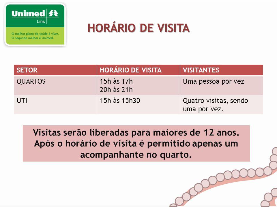 HORÁRIO DE VISITA SETORHORÁRIO DE VISITAVISITANTES QUARTOS15h às 17h 20h às 21h Uma pessoa por vez UTI15h às 15h30Quatro visitas, sendo uma por vez. V