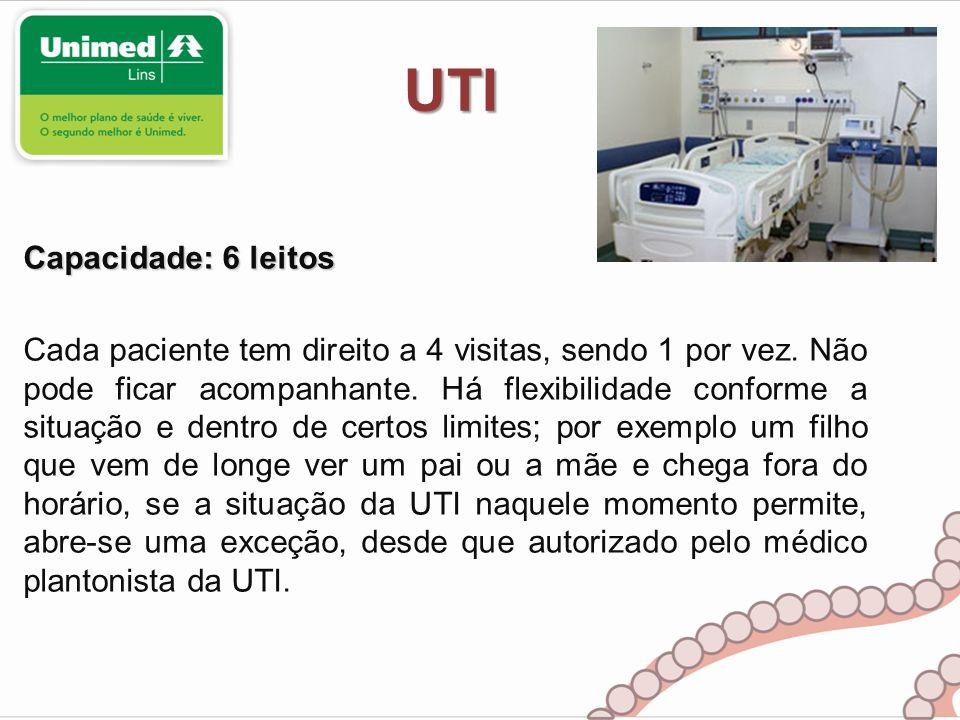 UTI Capacidade: 6 leitos Cada paciente tem direito a 4 visitas, sendo 1 por vez. Não pode ficar acompanhante. Há flexibilidade conforme a situação e d