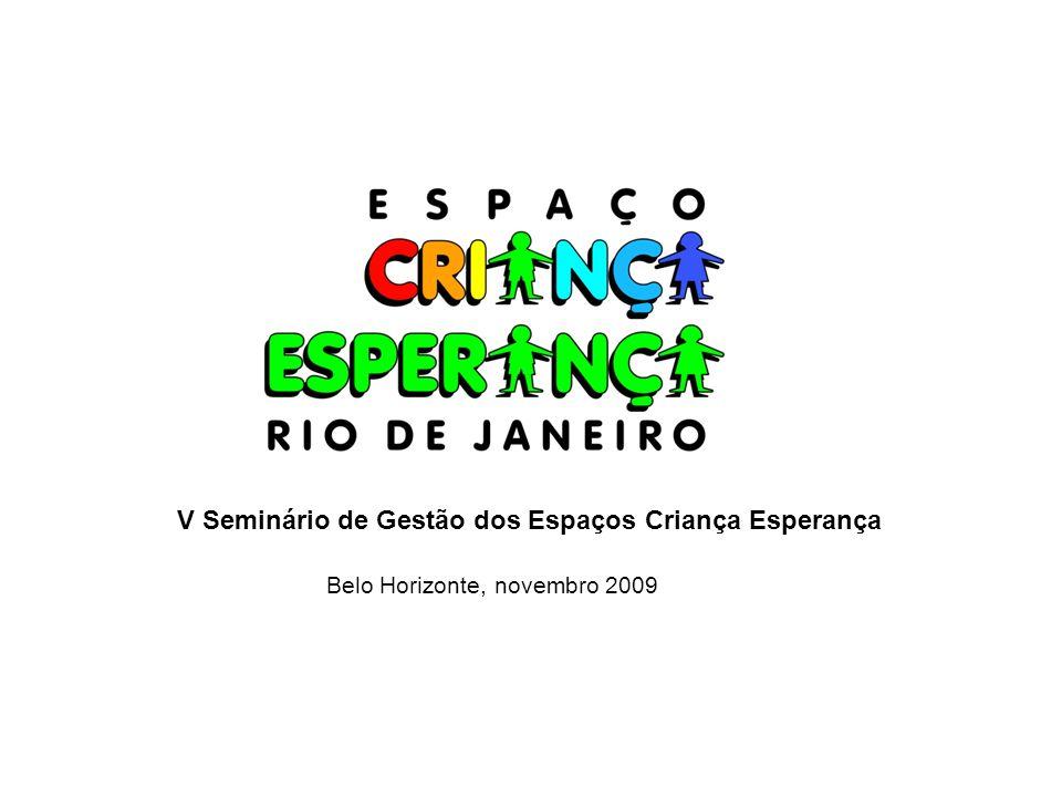 V Seminário de Gestão dos Espaços Criança Esperança Belo Horizonte, novembro 2009