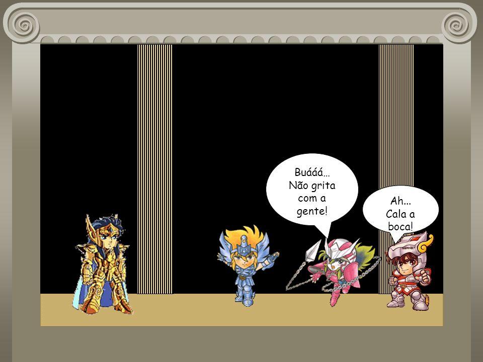 Eu já estava á sua espera Hyoga ! Sei disso, mestre ! Seiya, Shun sigam em frente essa luta é particular ! Vão embora ! Mas Hyoga...