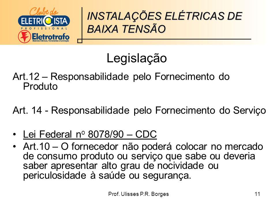 Prof.Ulisses P.R. Borges11 Legislação Art.12 – Responsabilidade pelo Fornecimento do Produto Art.