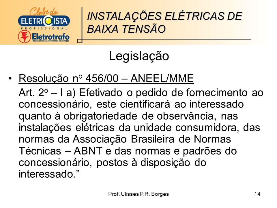 Prof.Ulisses P.R. Borges14 Legislação Resolução n o 456/00 – ANEEL/MME Art.