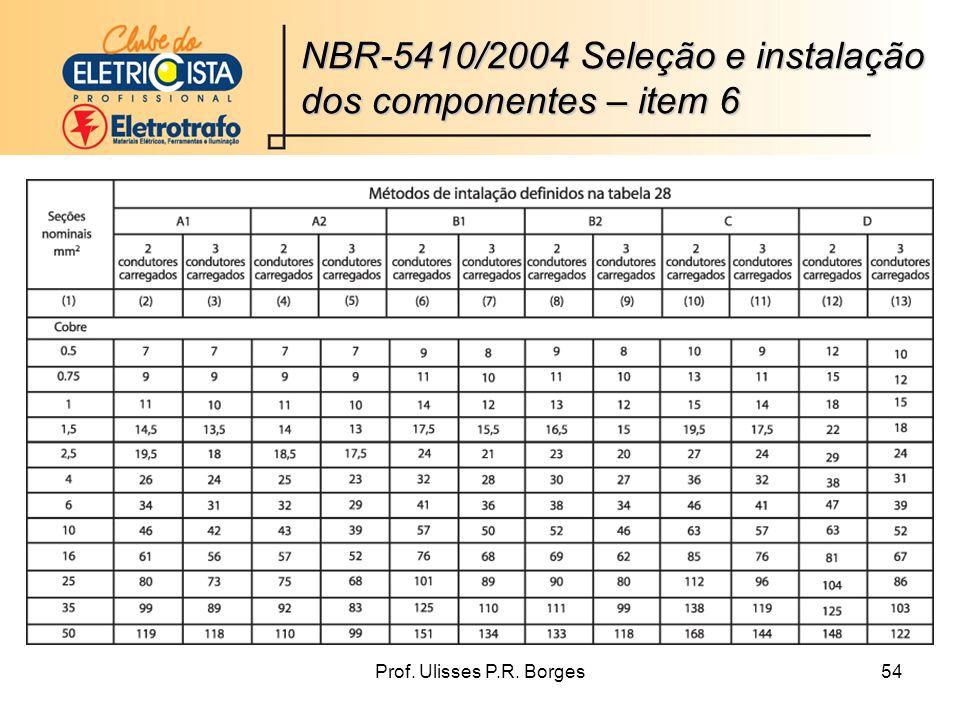 Prof. Ulisses P.R. Borges54 NBR-5410/2004 Seleção e instalação dos componentes – item 6