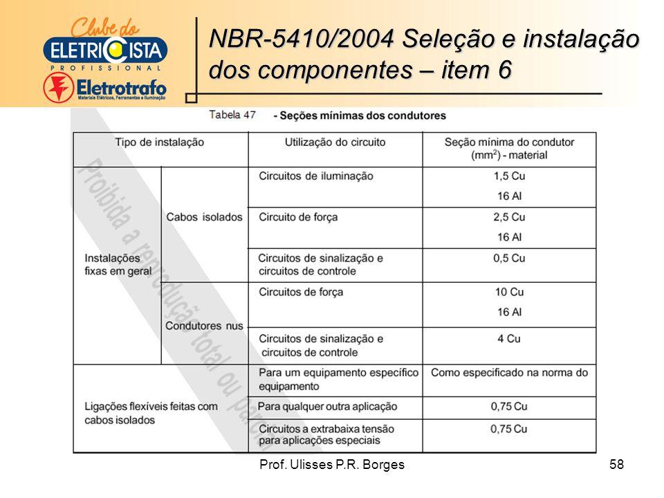 Prof. Ulisses P.R. Borges58 NBR-5410/2004 Seleção e instalação dos componentes – item 6