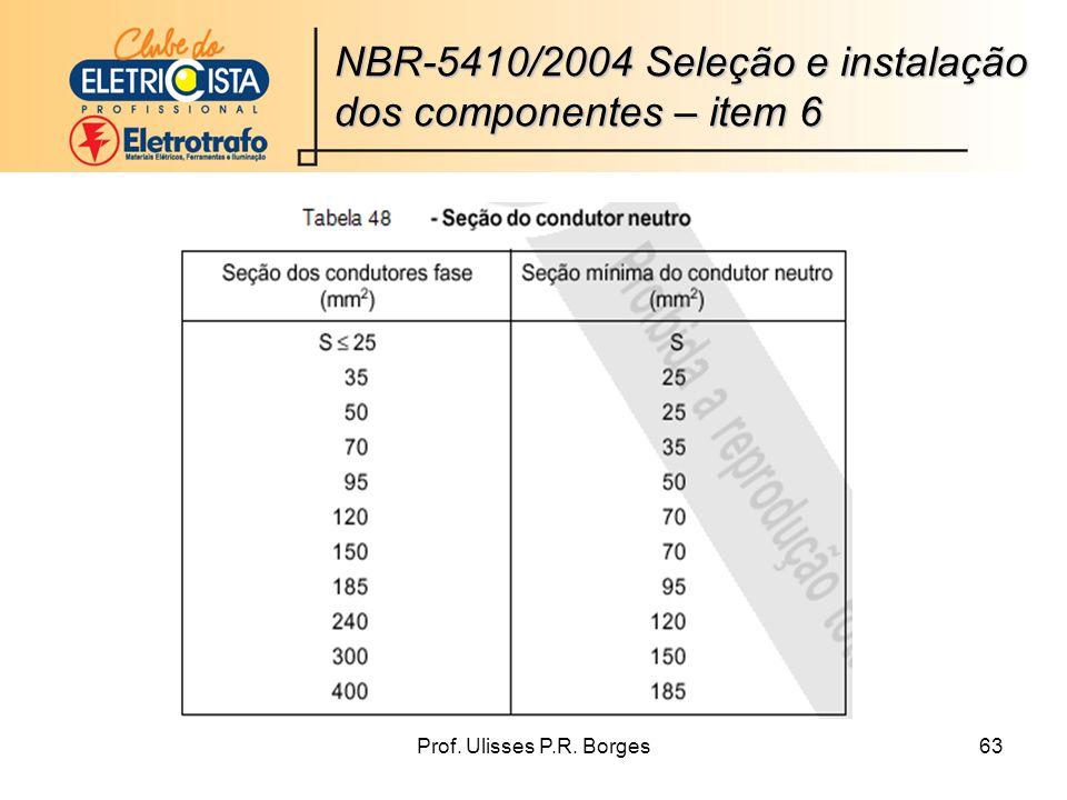 Prof. Ulisses P.R. Borges63 NBR-5410/2004 Seleção e instalação dos componentes – item 6