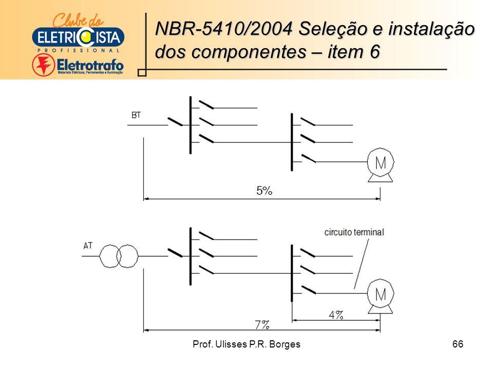 Prof. Ulisses P.R. Borges66 NBR-5410/2004 Seleção e instalação dos componentes – item 6