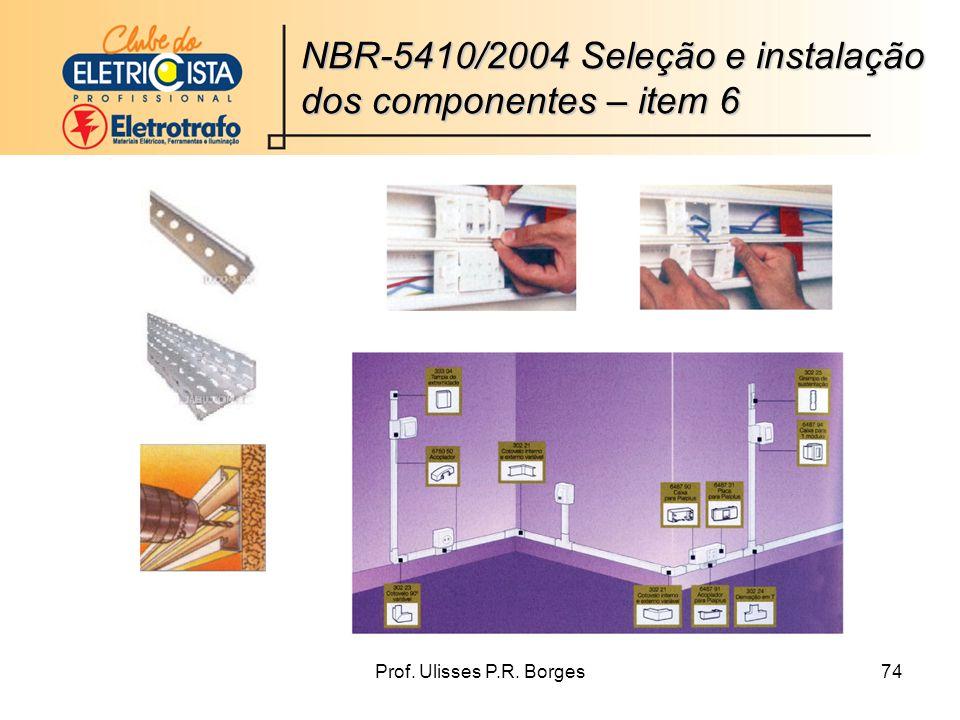 Prof. Ulisses P.R. Borges74 NBR-5410/2004 Seleção e instalação dos componentes – item 6