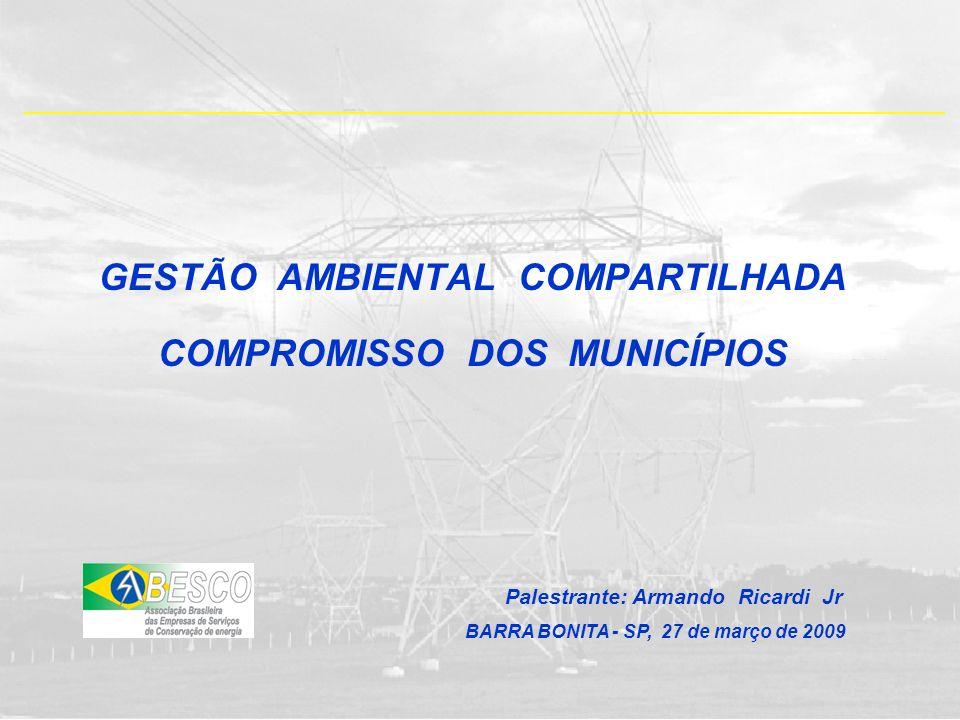 GESTÃO AMBIENTAL COMPARTILHADA COMPROMISSO DOS MUNICÍPIOS Palestrante: Armando Ricardi Jr BARRA BONITA - SP, 27 de março de 2009
