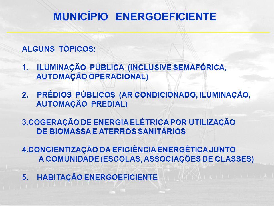 MUNICÍPIO ENERGOEFICIENTE ALGUNS TÓPICOS: 1. ILUMINAÇÃO PÚBLICA (INCLUSIVE SEMAFÓRICA, AUTOMAÇÃO OPERACIONAL) 2. PRÉDIOS PÚBLICOS (AR CONDICIONADO, IL