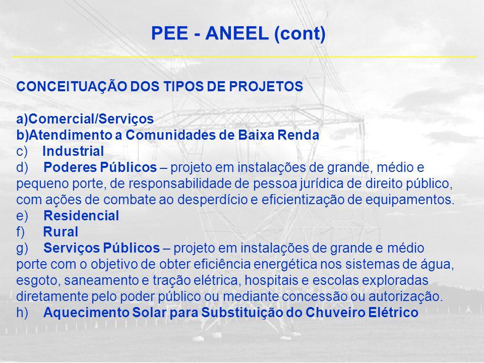 PEE - ANEEL (cont) CONCEITUAÇÃO DOS TIPOS DE PROJETOS a)Comercial/Serviços b)Atendimento a Comunidades de Baixa Renda c) Industrial d) Poderes Público