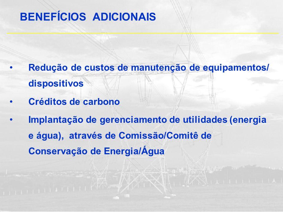 Redução de custos de manutenção de equipamentos/ dispositivos Créditos de carbono Implantação de gerenciamento de utilidades (energia e água), através