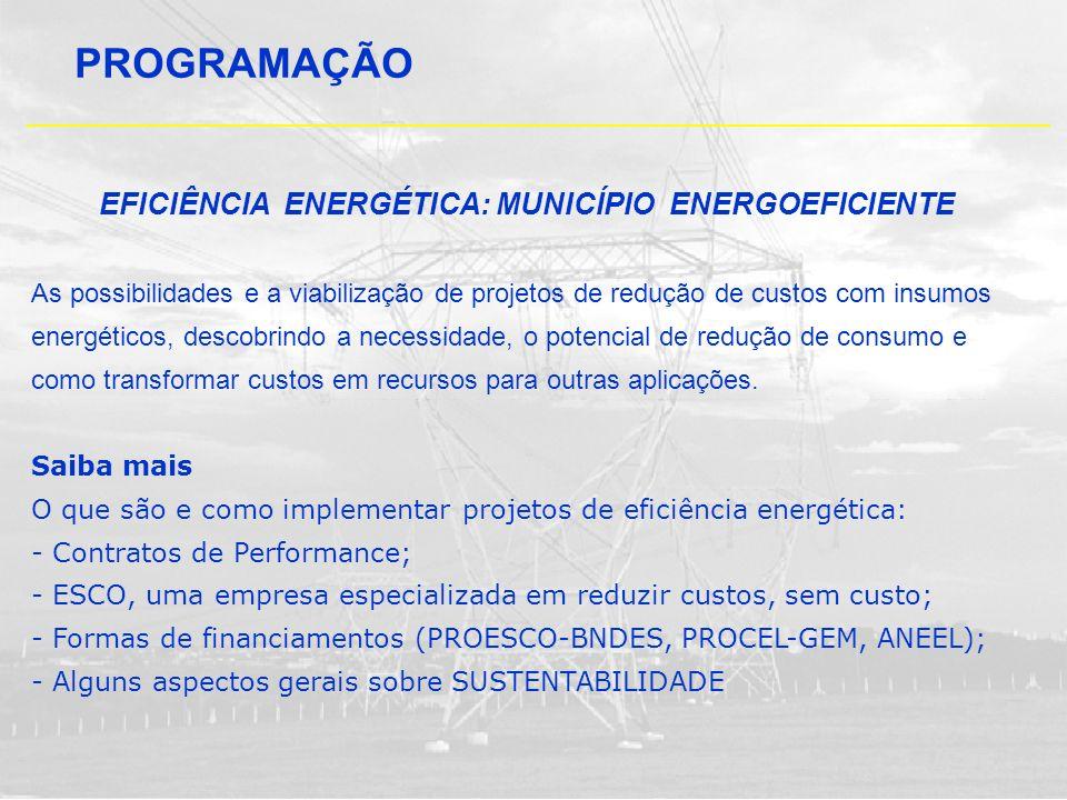 PROGRAMAÇÃO EFICIÊNCIA ENERGÉTICA: MUNICÍPIO ENERGOEFICIENTE As possibilidades e a viabilização de projetos de redução de custos com insumos energétic
