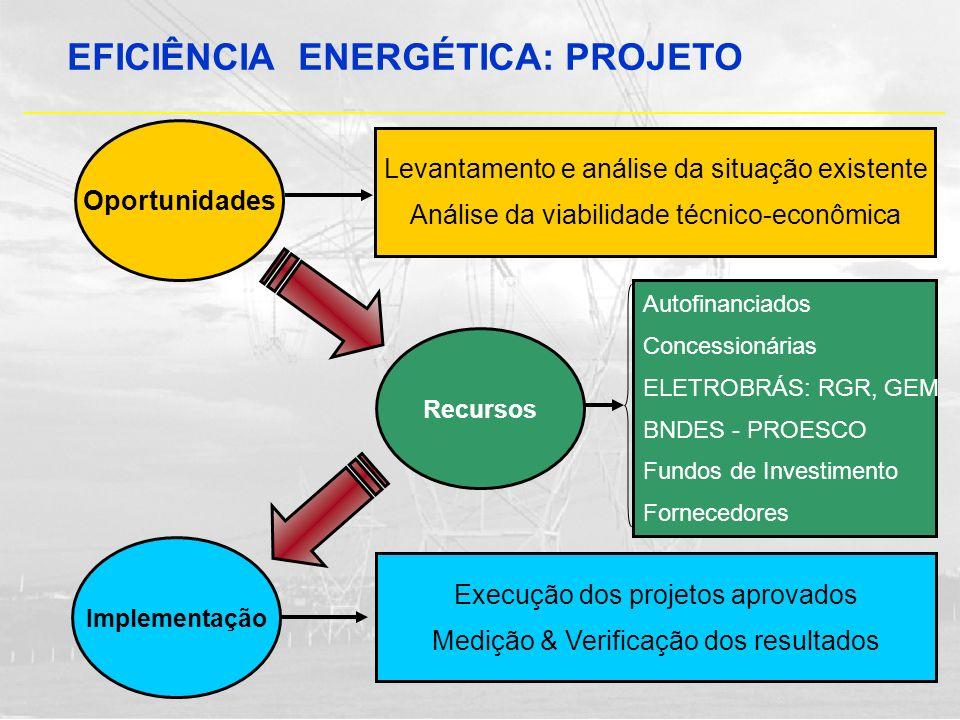 Oportunidades Levantamento e análise da situação existente Análise da viabilidade técnico-econômica Recursos Autofinanciados Concessionárias ELETROBRÁ