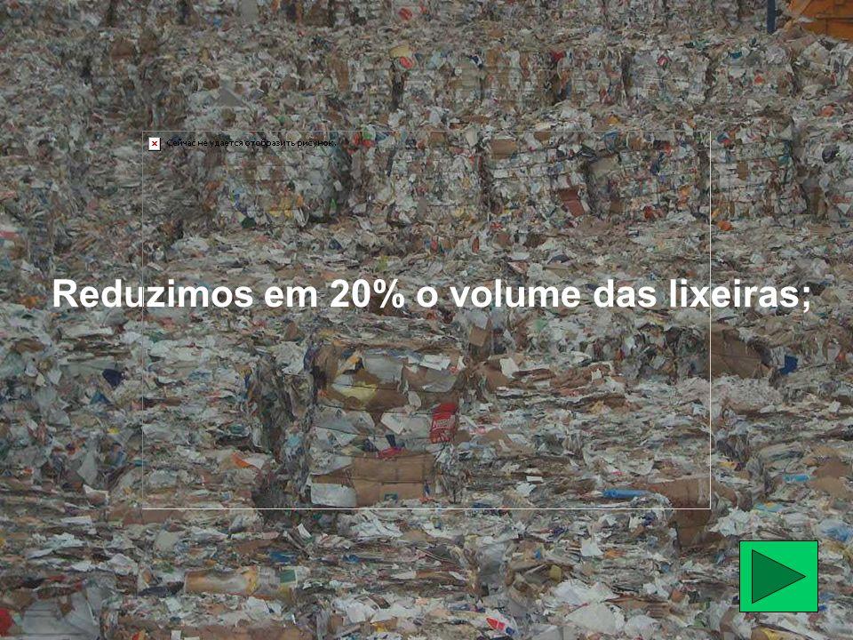 Reduzimos em 20% o volume das lixeiras;