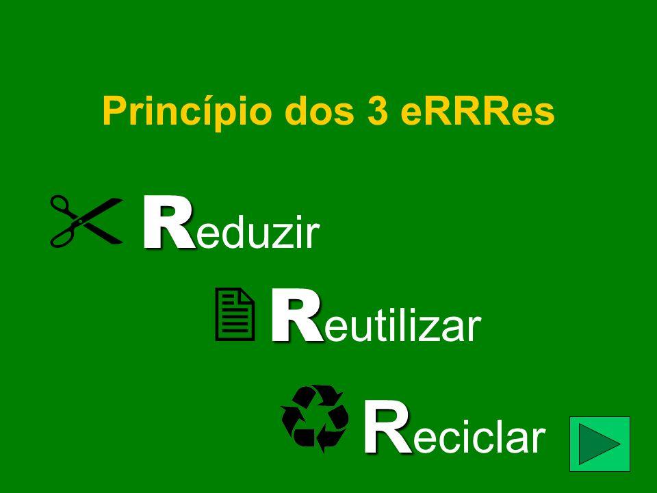 Princípio dos 3 eRRRes R R eduzir R R eutilizar R R eciclar