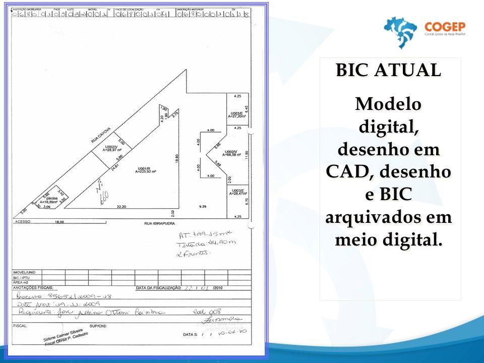 BIC ATUAL Modelo digital, desenho em CAD, desenho e BIC arquivados em meio digital. BIC ATUAL Modelo digital, desenho em CAD, desenho e BIC arquivados
