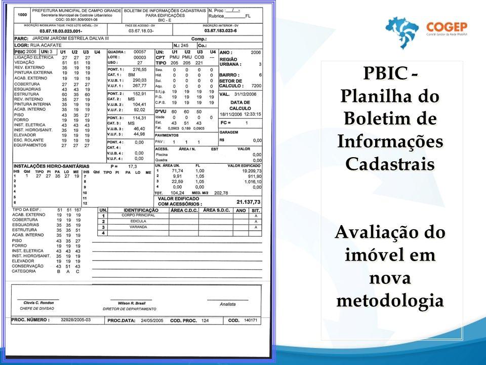 PBIC- Planilha do Boletim de Informações Cadastrais Avaliação do imóvel em nova metodologia PBIC- Planilha do Boletim de Informações Cadastrais Avaliação do imóvel em nova metodologia