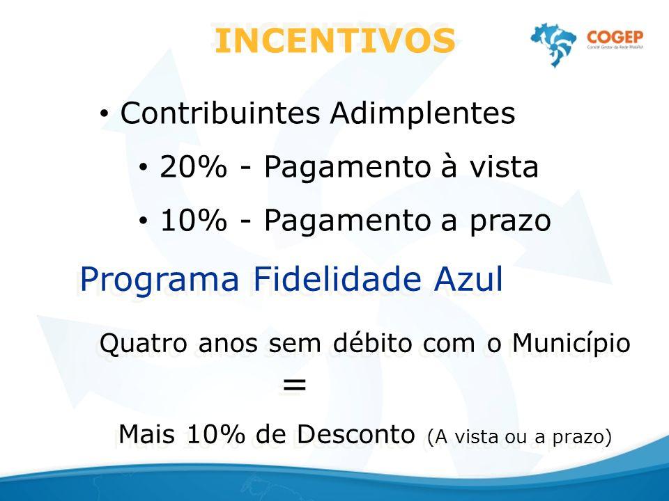 INCENTIVOS Contribuintes Adimplentes 20% - Pagamento à vista 10% - Pagamento a prazo Programa Fidelidade Azul Quatro anos sem débito com o Município = Mais 10% de Desconto (A vista ou a prazo) Programa Fidelidade Azul Quatro anos sem débito com o Município = Mais 10% de Desconto (A vista ou a prazo)