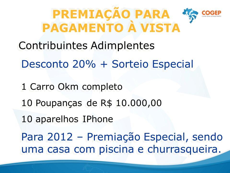 PREMIAÇÃO PARA PAGAMENTO À VISTA Contribuintes Adimplentes Desconto 20% + Sorteio Especial 1 Carro Okm completo 10 Poupanças de R$ 10.000,00 10 aparel