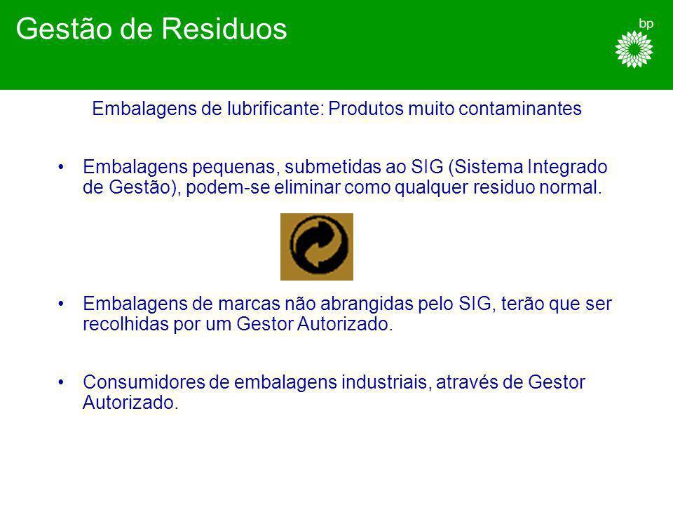 Lubrificantes usados: Produtos muito contaminantes Recolher em embalagens adequadas. Não misturar com solventes ou outros produtos químicos. Contactar