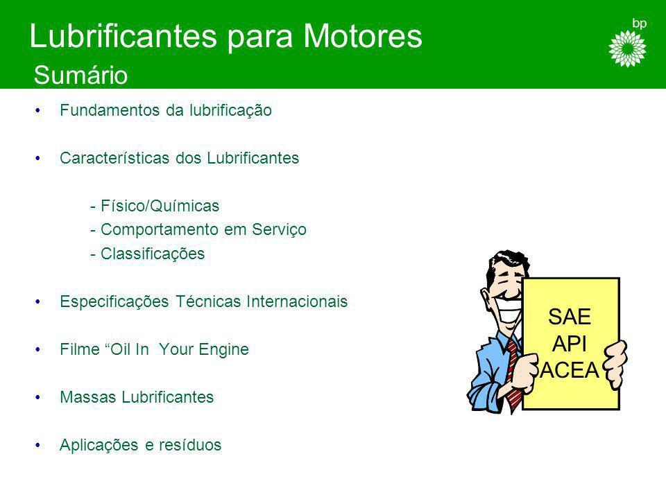 Níveis de qualidade para lubrificantes de motor, destinados a: Motores a Gasolina Motores Diesel Ligeiros Motores Diesel Pesados As especificações de desempenho são constituidas por ensaios de laboratório e ensaios em motores seleccionados Especificações Técnicas Performance/Internacionais
