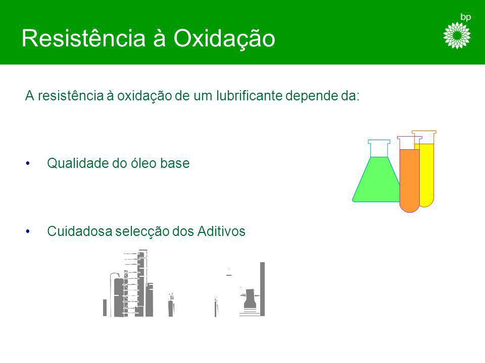 Resistência à Oxidação A oxidação ocorre quando o oxigénio ataca qualquer produto petrolífero. O processo é acelerado pelo calor, luz, catalisadores m