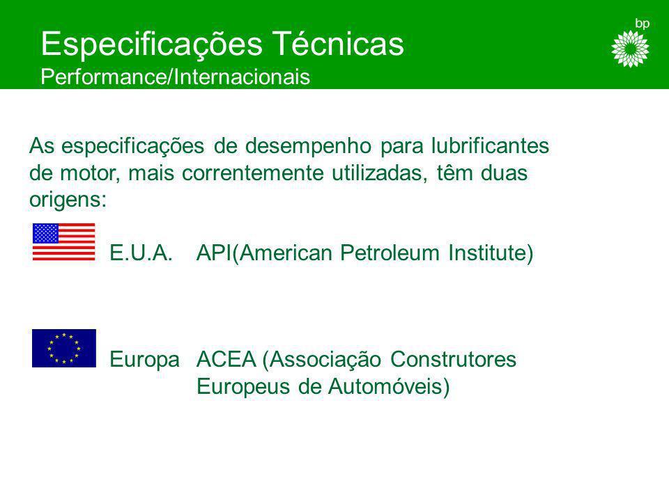 Especificações de Óleos de Motor Resumo - Performance/API (EUA) /InternacionaisCCMC - ACEA (Europa) - ConstrutoresMB / VW / Volvo / MAN... - Organizaç