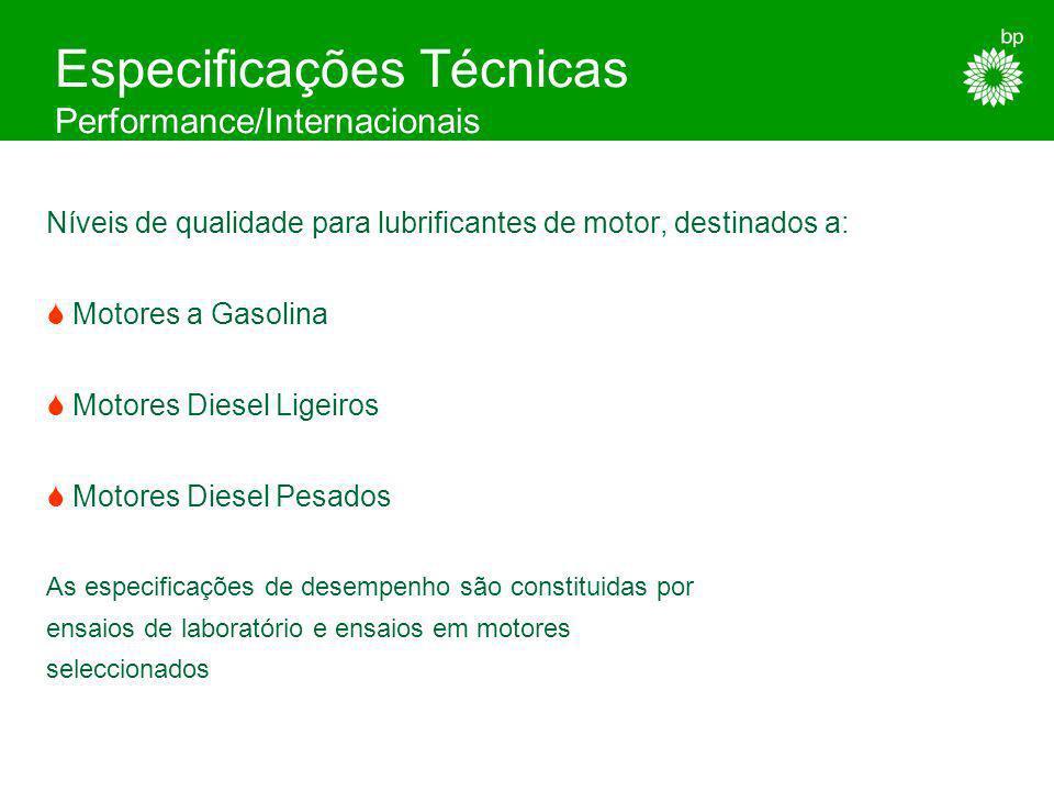 Especificações Técnicas Performance/Internacionais As especificações de desempenho para lubrificantes de motor, mais correntemente utilizadas, têm dua