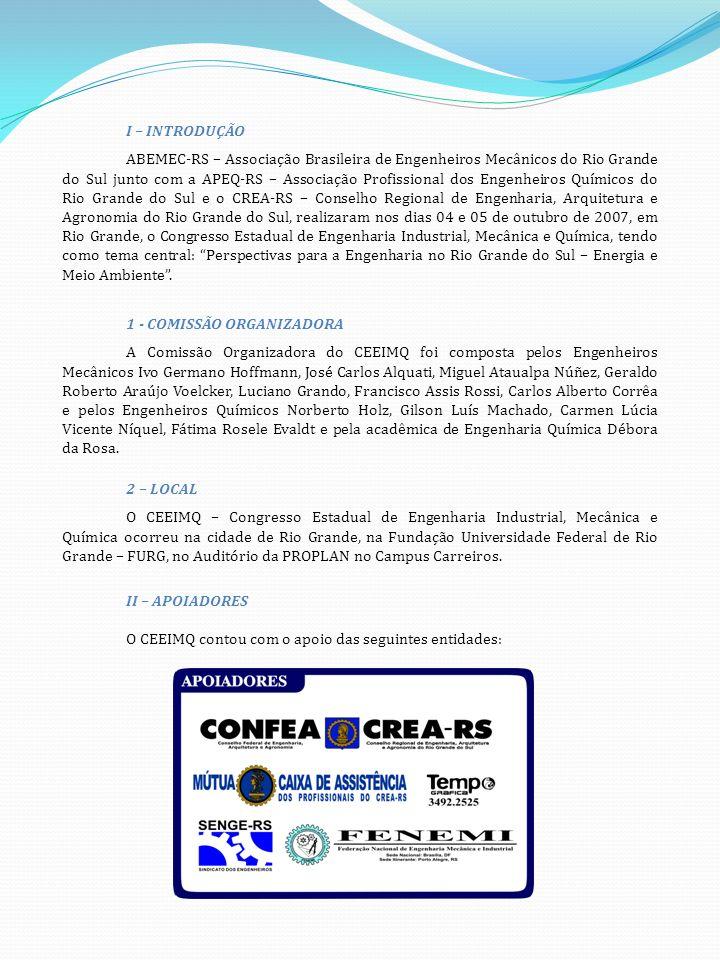 I – INTRODUÇÃO ABEMEC-RS – Associação Brasileira de Engenheiros Mecânicos do Rio Grande do Sul junto com a APEQ-RS – Associação Profissional dos Engenheiros Químicos do Rio Grande do Sul e o CREA-RS – Conselho Regional de Engenharia, Arquitetura e Agronomia do Rio Grande do Sul, realizaram nos dias 04 e 05 de outubro de 2007, em Rio Grande, o Congresso Estadual de Engenharia Industrial, Mecânica e Química, tendo como tema central: Perspectivas para a Engenharia no Rio Grande do Sul – Energia e Meio Ambiente.