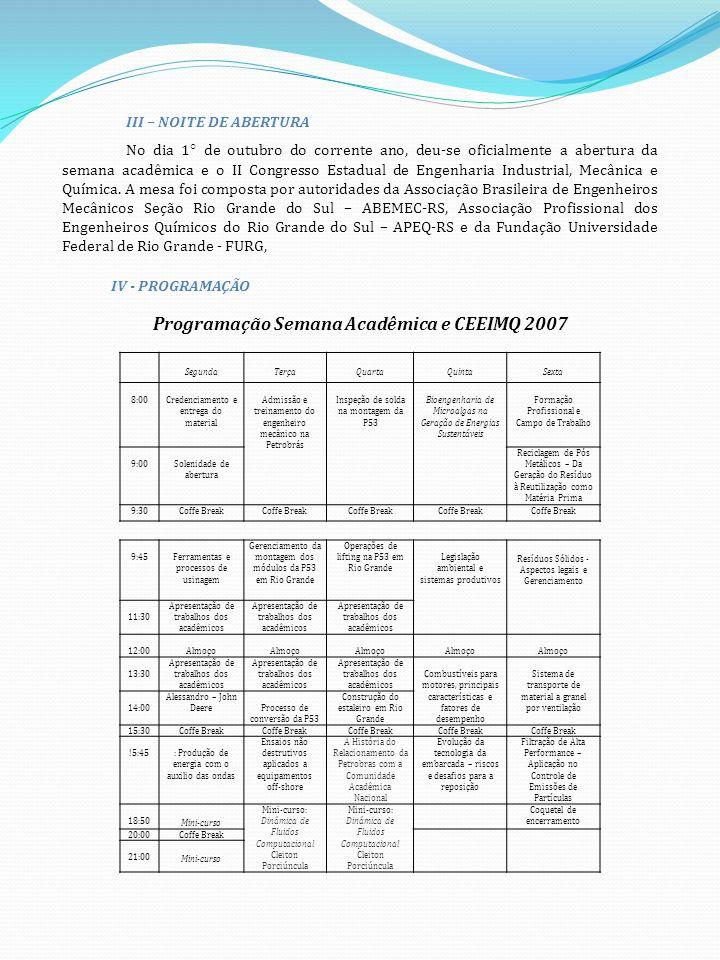 III – NOITE DE ABERTURA No dia 1° de outubro do corrente ano, deu-se oficialmente a abertura da semana acadêmica e o II Congresso Estadual de Engenharia Industrial, Mecânica e Química.