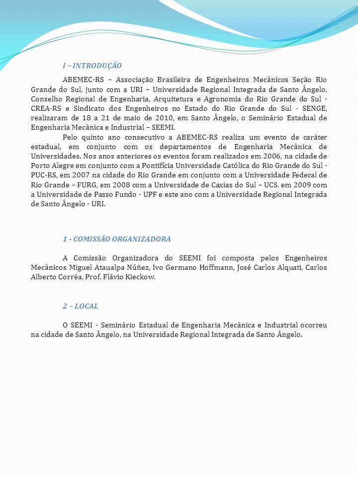 I – INTRODUÇÃO ABEMEC-RS – Associação Brasileira de Engenheiros Mecânicos Seção Rio Grande do Sul, junto com a URI – Universidade Regional Integrada de Santo Ângelo, Conselho Regional de Engenharia, Arquitetura e Agronomia do Rio Grande do Sul - CREA-RS e Sindicato dos Engenheiros no Estado do Rio Grande do Sul - SENGE, realizaram de 18 a 21 de maio de 2010, em Santo Ângelo, o Seminário Estadual de Engenharia Mecânica e Industrial – SEEMI.