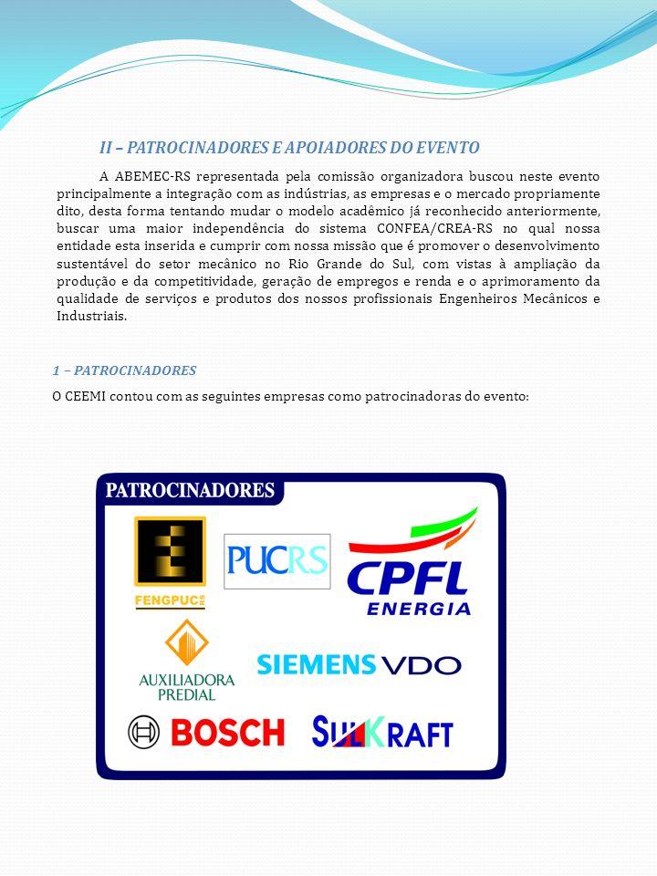 II – APOIADORES O SEEMI contou com o apoio das seguintes entidades: III – NOITE DE ABERTURA No dia 27 de maio do corrente ano, deu-se oficialmente a abertura do Seminário Estadual de Engenharia Mecânica e Industrial.
