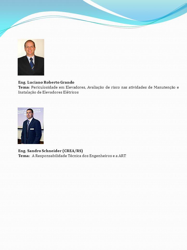Eng. Luciano Roberto Grando Tema: Periculosidade em Elevadores, Avaliação de risco nas atividades de Manutenção e Instalação de Elevadores Elétricos E