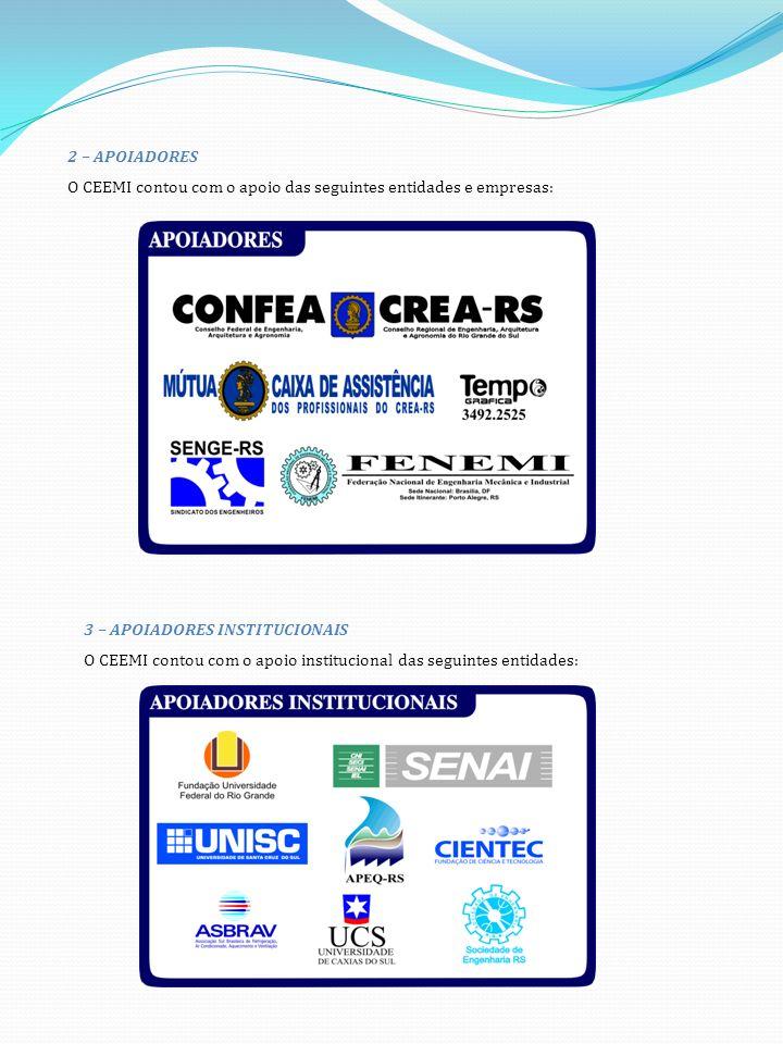 2 – APOIADORES O CEEMI contou com o apoio das seguintes entidades e empresas: 3 – APOIADORES INSTITUCIONAIS O CEEMI contou com o apoio institucional das seguintes entidades:
