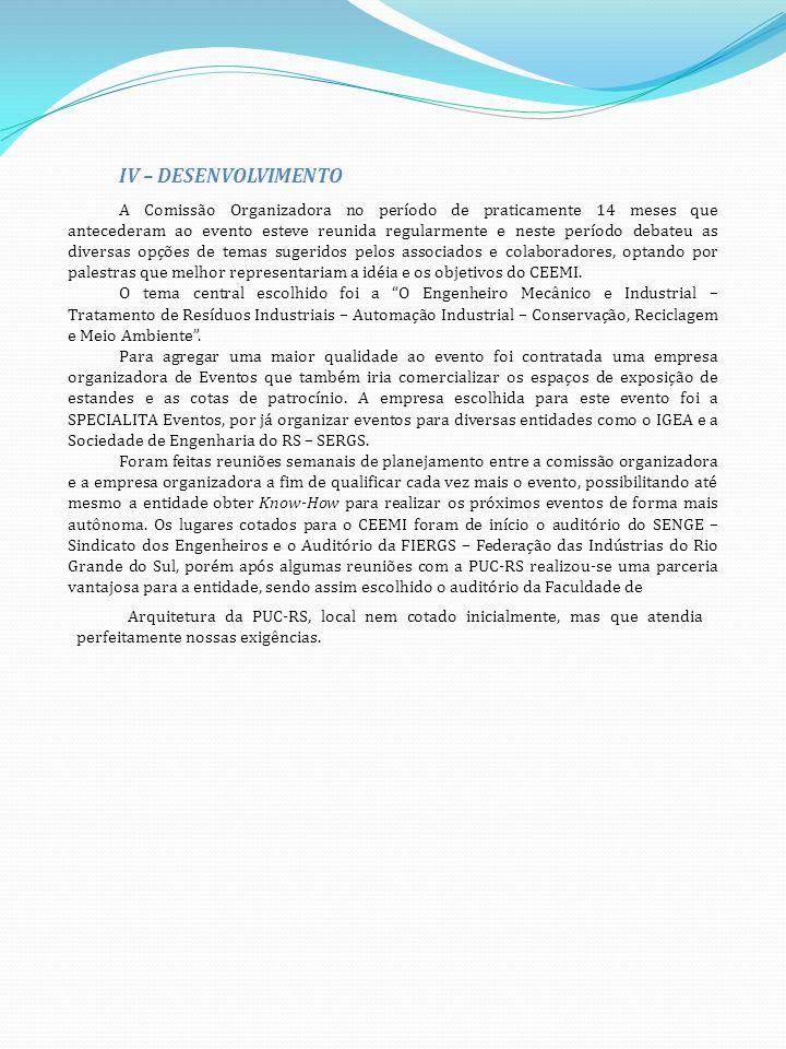 V - CONCLUSÕES E OBSERVAÇÕES FINAIS O CONEMI – Congresso Nacional de Engenharia Mecânica, Metalúrgica e Industrial, foi realizado com sucesso, de acordo com a programação prevista.