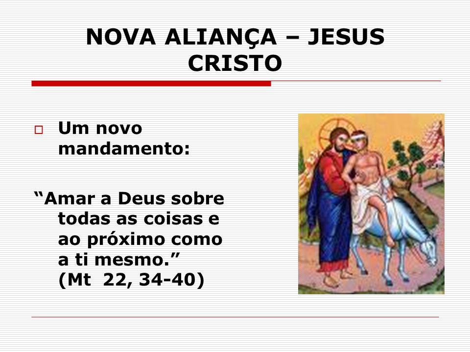 NOVA ALIANÇA – JESUS CRISTO Um novo mandamento: Amar a Deus sobre todas as coisas e ao próximo como a ti mesmo. (Mt 22, 34-40)