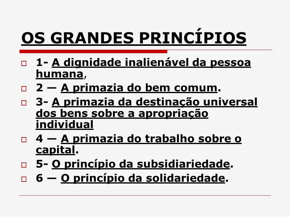 OS GRANDES PRINCÍPIOS 1- A dignidade inalienável da pessoa humana, 2 A primazia do bem comum. 3- A primazia da destinação universal dos bens sobre a a