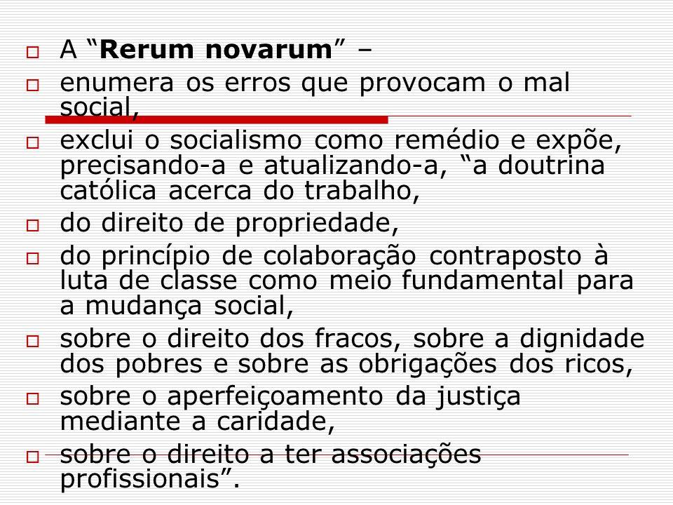 A Rerum novarum – enumera os erros que provocam o mal social, exclui o socialismo como remédio e expõe, precisando-a e atualizando-a, a doutrina catól