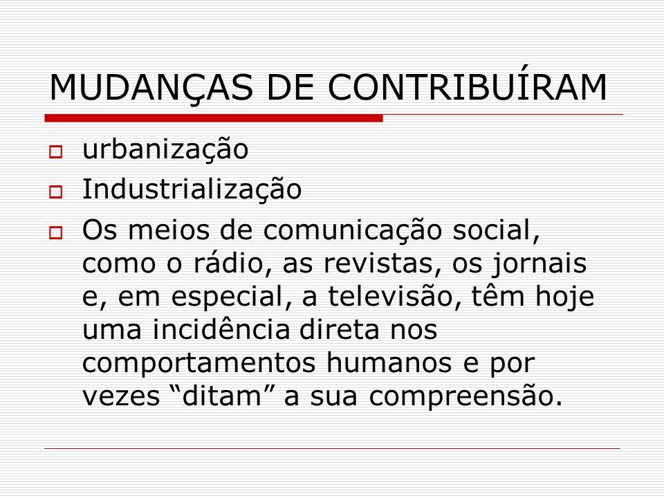 MUDANÇAS DE CONTRIBUÍRAM urbanização Industrialização Os meios de comunicação social, como o rádio, as revistas, os jornais e, em especial, a televisã