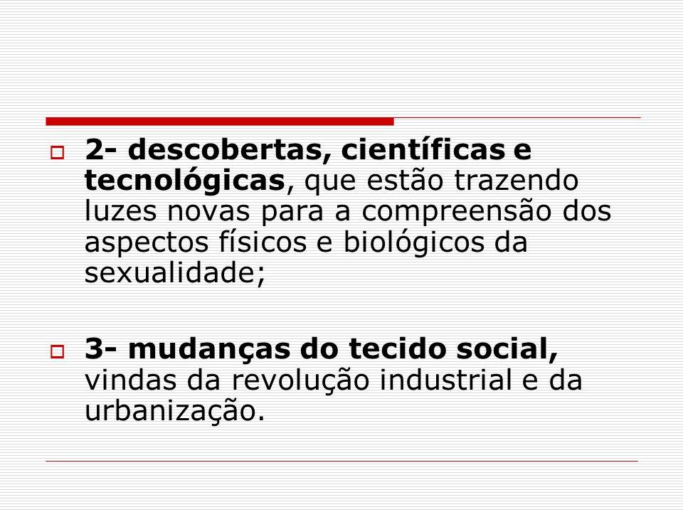 2- descobertas, científicas e tecnológicas, que estão trazendo luzes novas para a compreensão dos aspectos físicos e biológicos da sexualidade; 3- mud