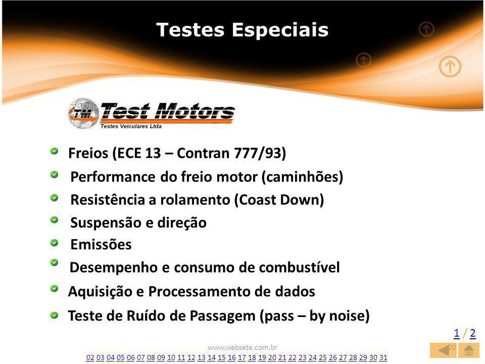 www.websete.com.br20 Testes Especiais Freios (ECE 13 – Contran 777/93) Performance do freio motor (caminhões) Resistência a rolamento (Coast Down) Suspensão e direção Emissões Desempenho e consumo de combustível Aquisição e Processamento de dados 1 / 21 / 2 Teste de Ruído de Passagem (pass – by noise) 0202 03 04 05 06 07 08 09 10 11 12 13 14 15 16 17 18 19 20 21 22 23 24 25 26 27 28 29 30 310304050607080910111213141516171819202122232425262728293031