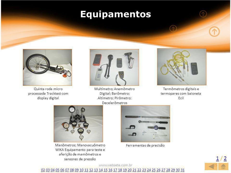 www.websete.com.br25 Equipamentos 1 / 21 / 2 Quinta roda micro processada Tracktest com display digital Multímetro; Anemômetro Digital; Barômetro; Altímetro; Pirômetro; Decelerômetros Termômetros digitais e termopares com baioneta Ecil Manômetros; Manovacuômetro WIKA Equipamento para teste e aferição de mamômetros e sensores de pressão Ferramentas de precisão 0202 03 04 05 06 07 08 09 10 11 12 13 14 15 16 17 18 19 20 21 22 23 24 25 26 27 28 29 30 310304050607080910111213141516171819202122232425262728293031