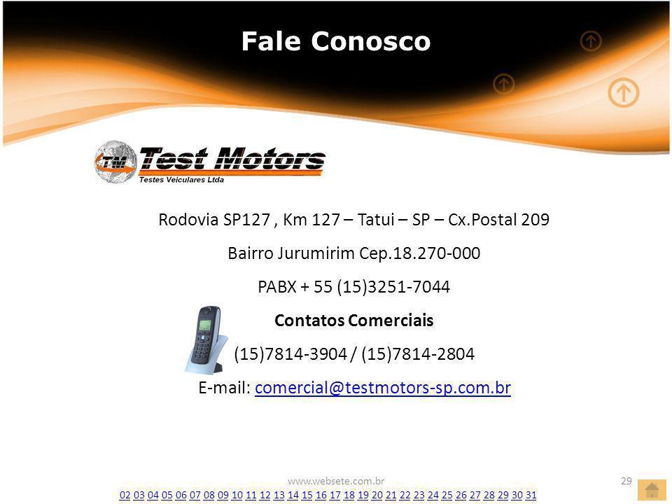www.websete.com.br29 Fale Conosco Rodovia SP127, Km 127 – Tatui – SP – Cx.Postal 209 Bairro Jurumirim Cep.18.270-000 PABX + 55 (15)3251-7044 Contatos Comerciais (15)7814-3904 / (15)7814-2804 E-mail: comercial@testmotors-sp.com.brcomercial@testmotors-sp.com.br 0202 03 04 05 06 07 08 09 10 11 12 13 14 15 16 17 18 19 20 21 22 23 24 25 26 27 28 29 30 310304050607080910111213141516171819202122232425262728293031