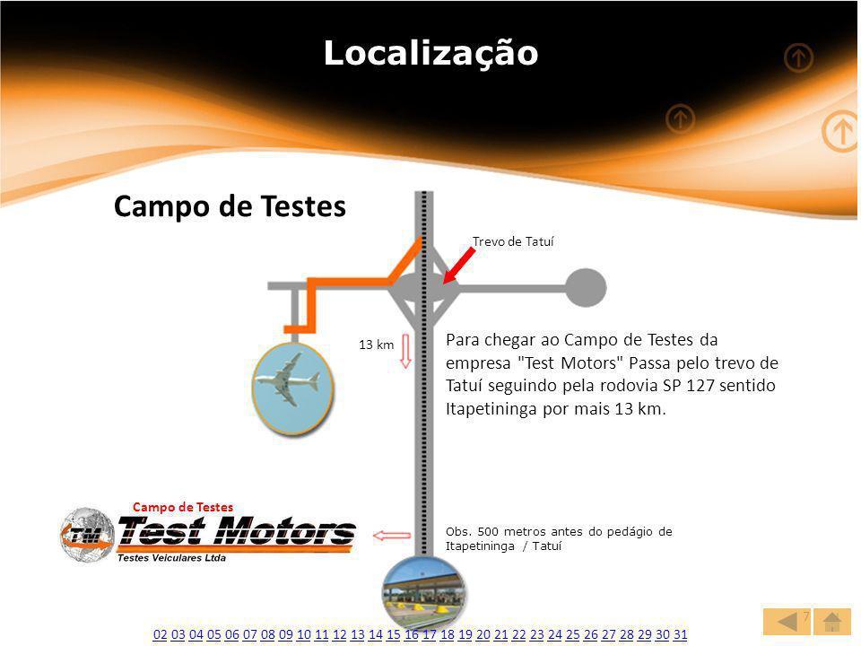 www.websete.com.br7 Localização Para chegar ao Campo de Testes da empresa Test Motors Passa pelo trevo de Tatuí seguindo pela rodovia SP 127 sentido Itapetininga por mais 13 km.