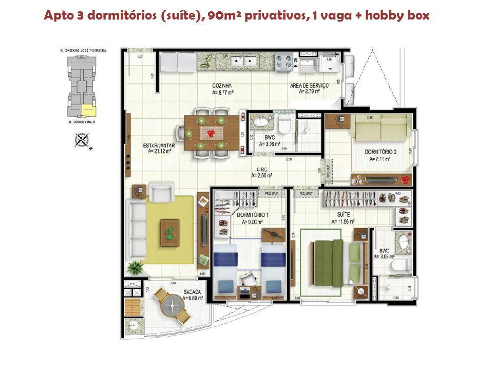 Apto 3 dormitórios (suíte), 90m² privativos, 1 vaga + hobby box