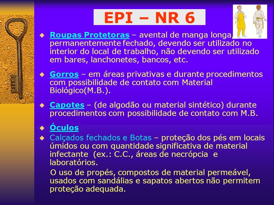 EPI – NR 6 Roupas Protetoras – avental de manga longa, permanentemente fechado, devendo ser utilizado no interior do local de trabalho, não devendo se