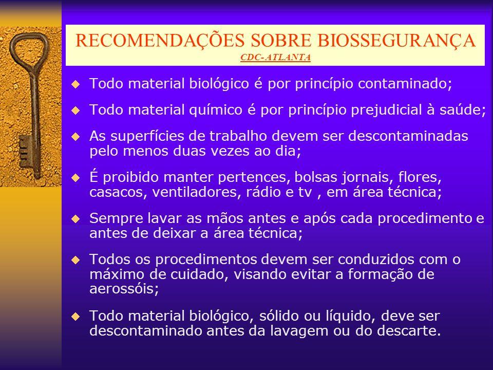 RECOMENDAÇÕES SOBRE BIOSSEGURANÇA CDC- ATLANTA Todo material biológico é por princípio contaminado; Todo material químico é por princípio prejudicial